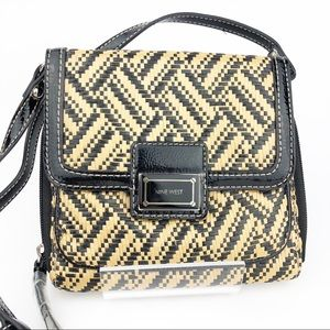 Nine West Small Woven Black & Straw Crossbody Bag